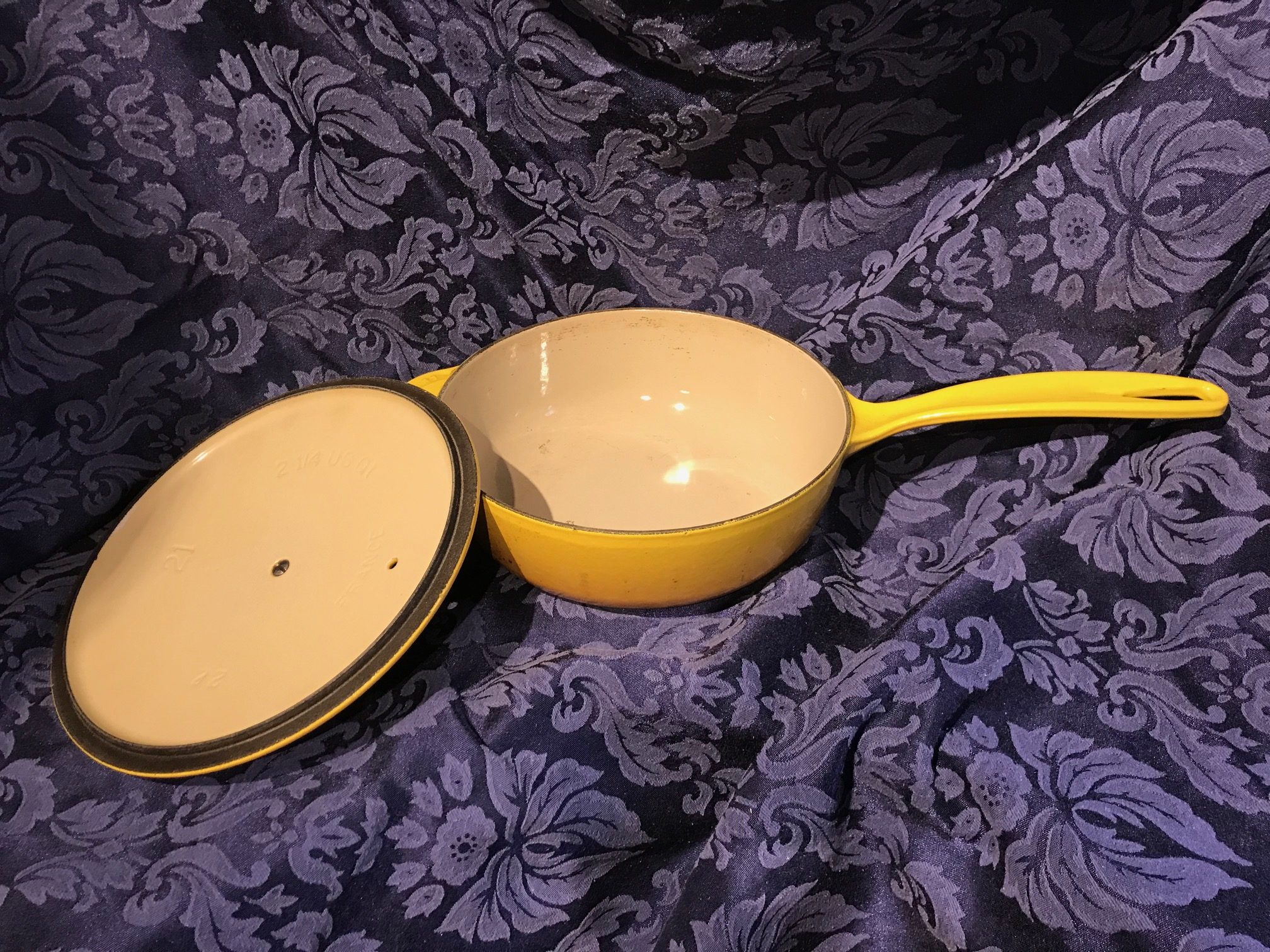 Made In France (c. 2013) Yellow Le Creuset Sauce Pan [#21]: 19,600 ppm Cadmium (a known carcinogen) + 48 ppm Lead.