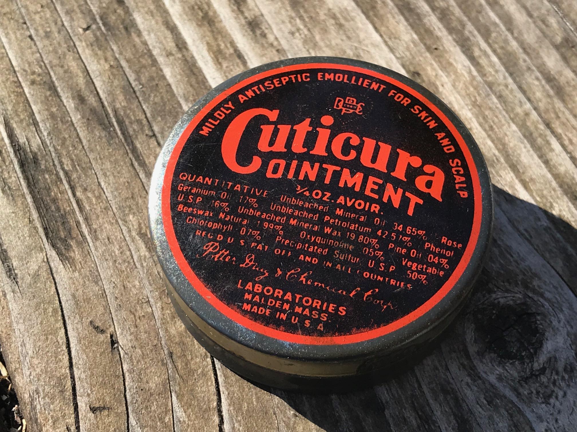 Vintage Tin, Cuticura Ointment: 24,000 ppm Lead + 209 ppm Cadmium.