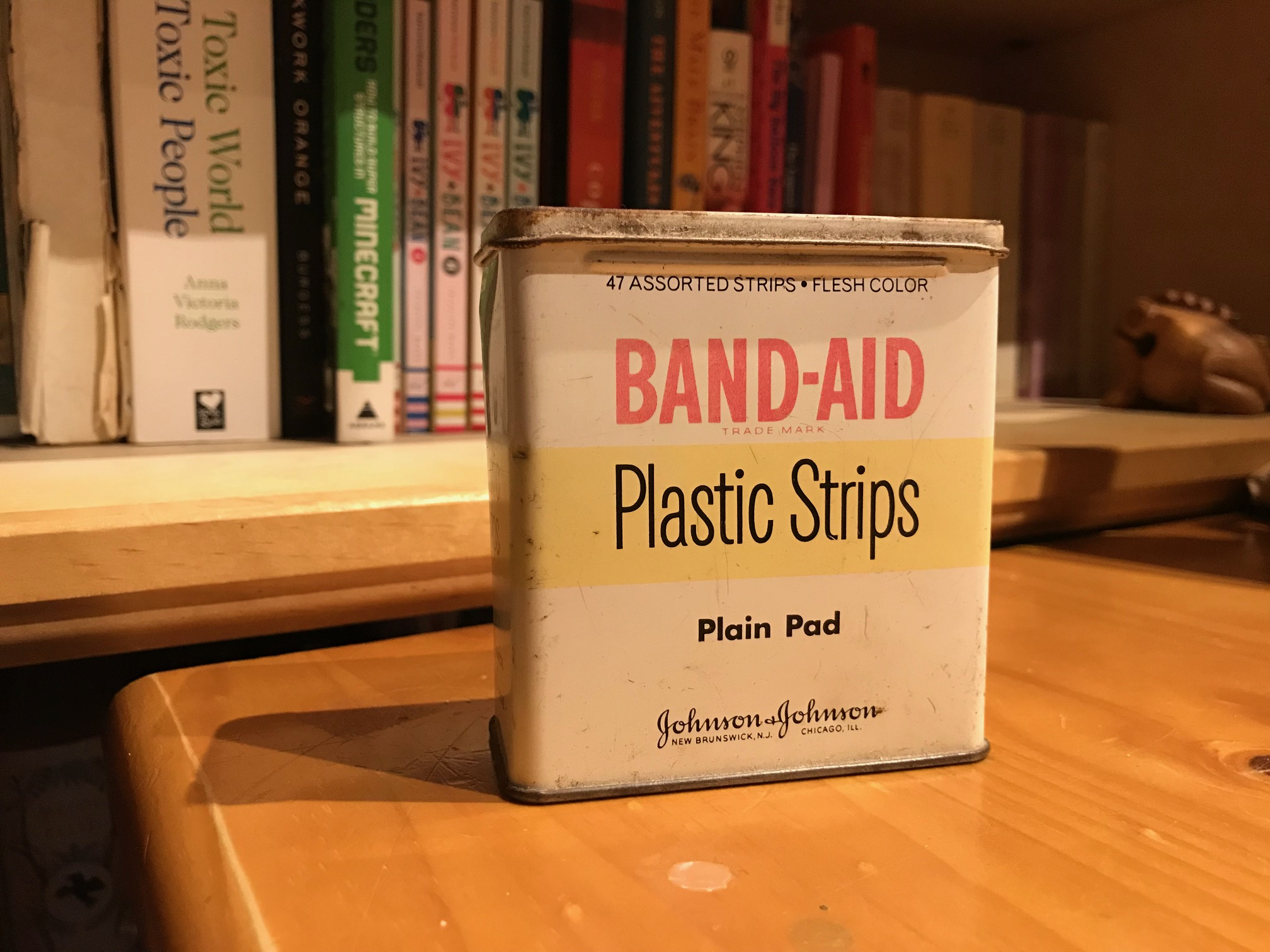 Oh the irony! Vintage metal Band-Aid tin, painted in Lead Paint! 2,193 +/- 147 ppm Lead!