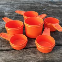Vintage Orange Tupperware Nesting Measuring Cups with Cadmium Lead Safe Mama 3