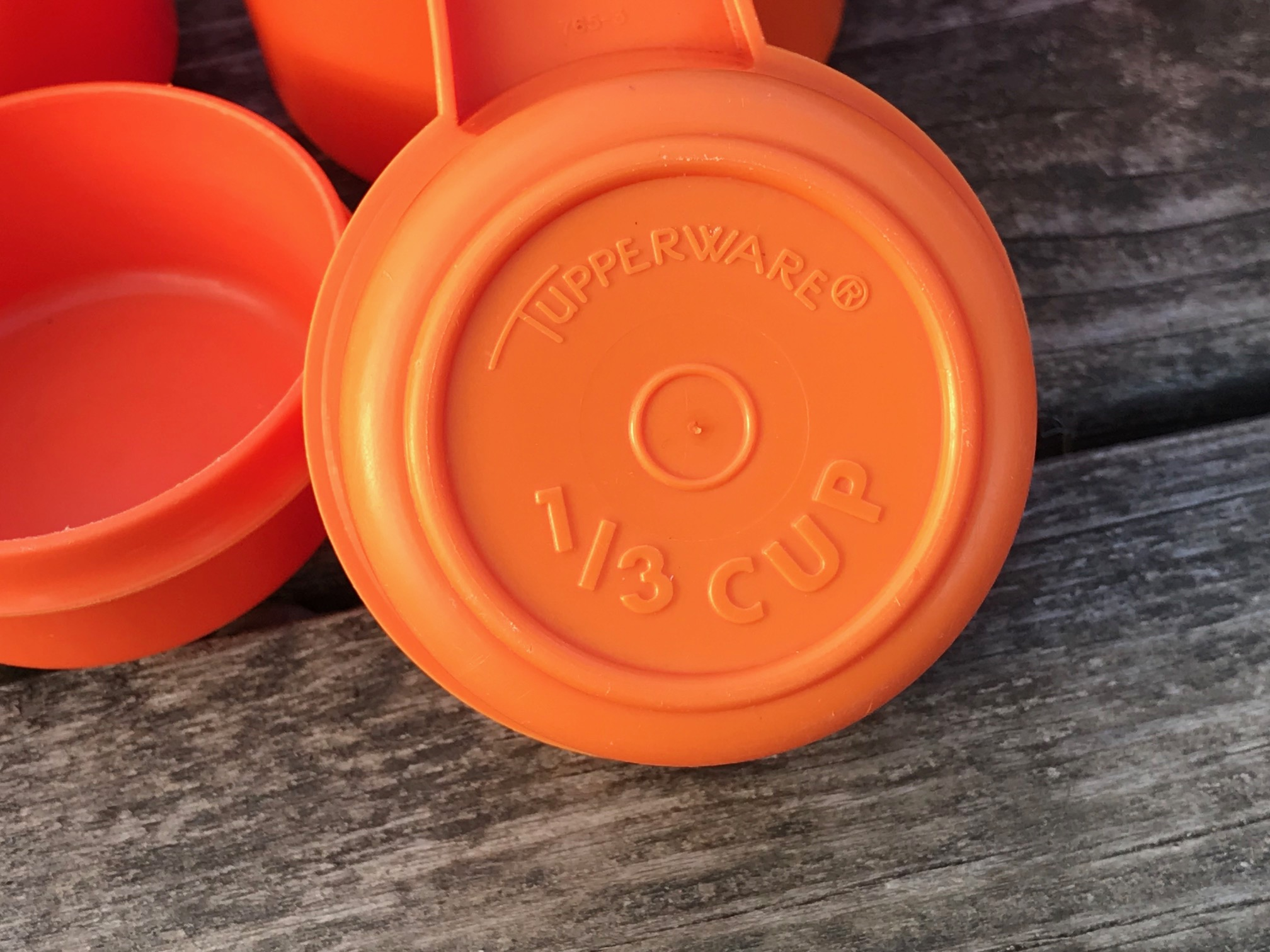 Orange Tupperware Vintage Measuring Cups: 61 ppm Cadmium. Cadmium is a known carcinogen for humans.