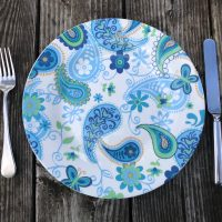 Spring 2019 Royal Norfolk Greenbrier International Dollar Tree Store Paisly Dinner Plate Lead Safe Mama 1