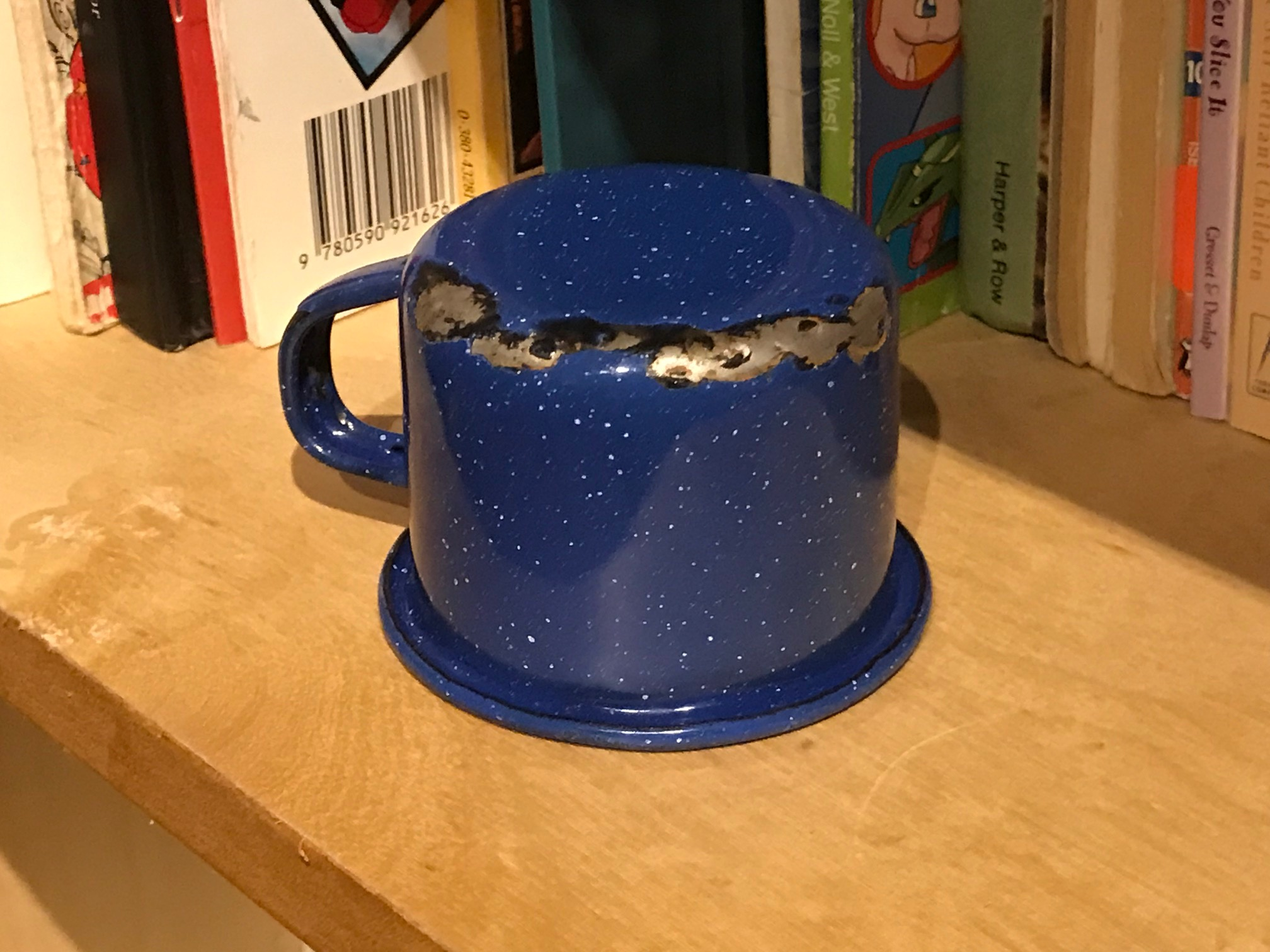 Small Blue Enamelware Camping Cup / Espresso Cup: 48 ppm Lead, 63 ppm Arsenic, 137 ppm Antimony. Low levels of 3 neurotoxins.