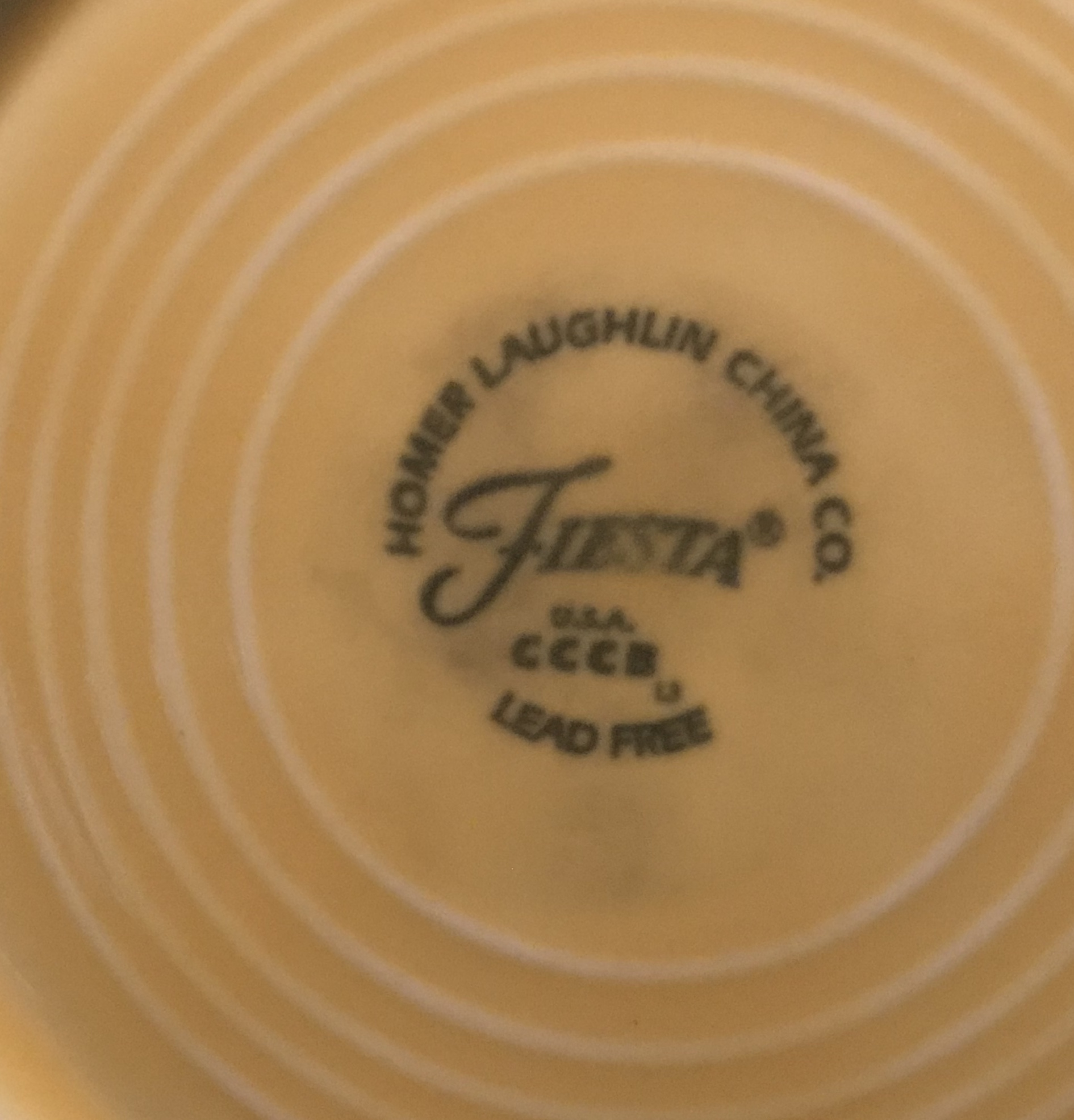 "Modern Yellow Fiesta Homer Laughlin China Company Small Plate. Marked ""Lead Free"". Non-Detect (negative) for Lead, Cadmium, Mercury and Arsenic!"
