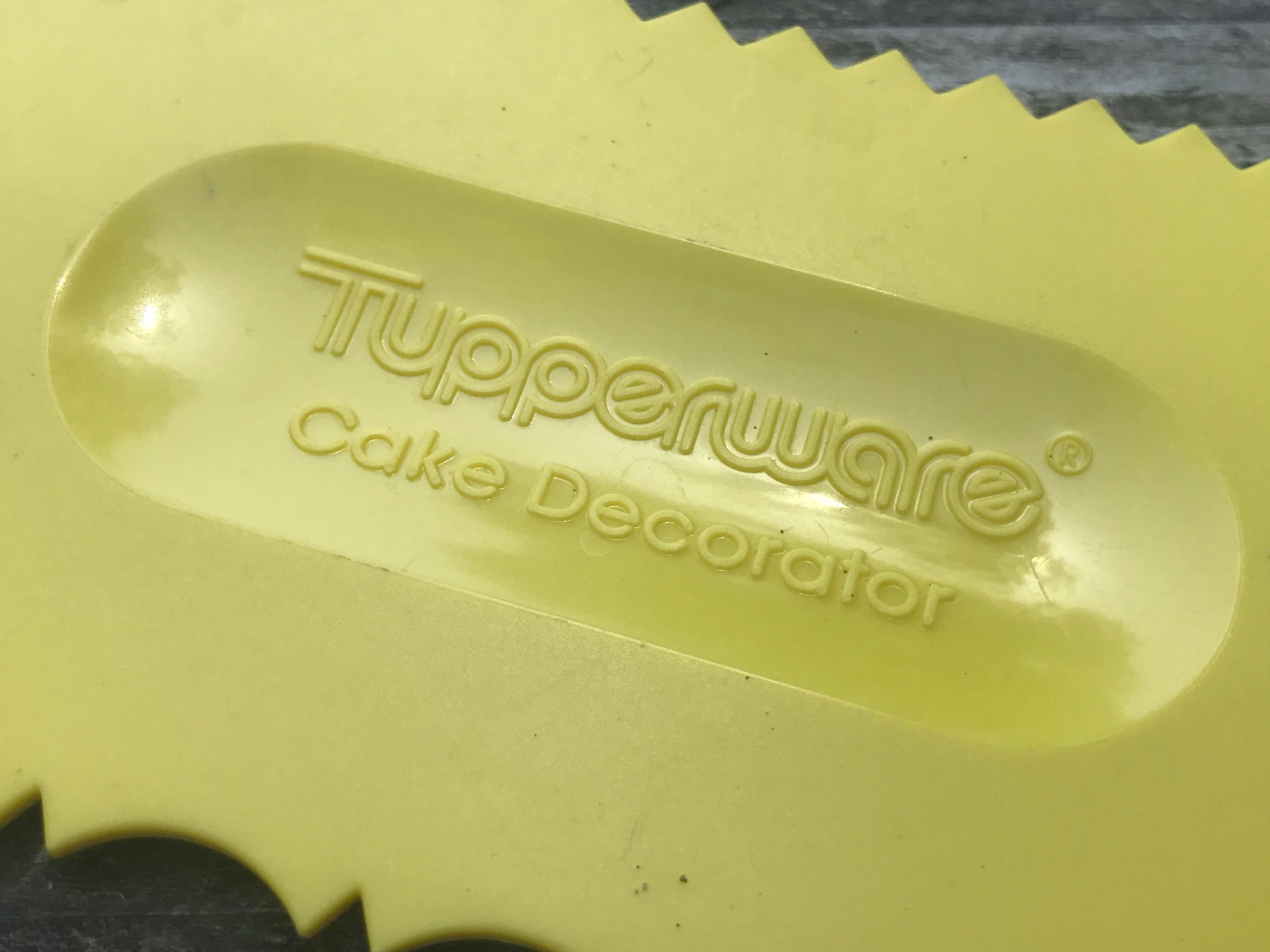 "Do you remember licking this after your mom frosted the cake? Yellow vintage Tupperware ""Cake Decorator"": 1,283 ppm Lead [90 is toxic for kids] + 135 ppm Arsenic!"