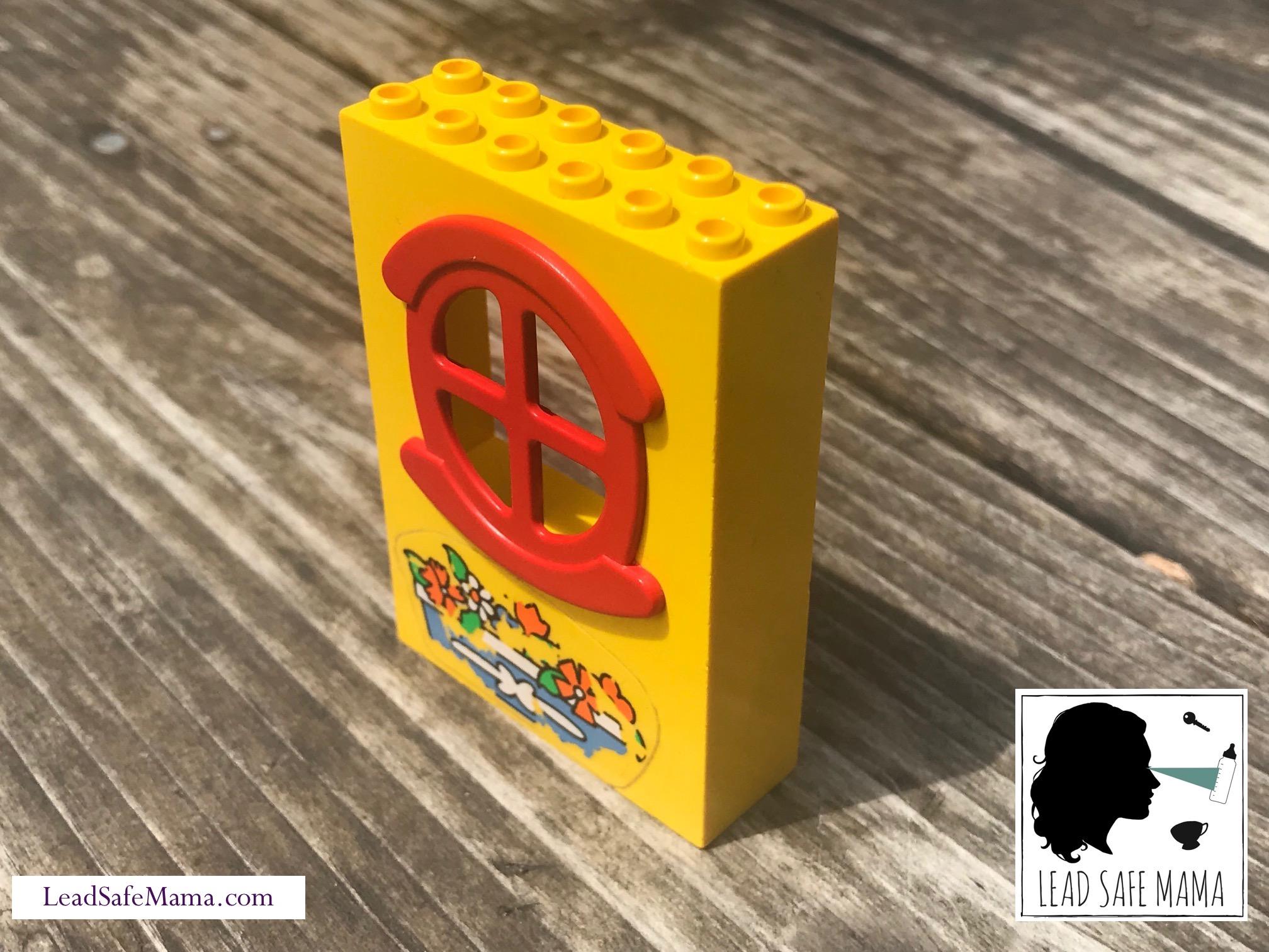 Vintage (1978-1988) Red & Yellow Lego® Door: 10,300 ppm Cadmium (40 is unsafe) + 393 Barium