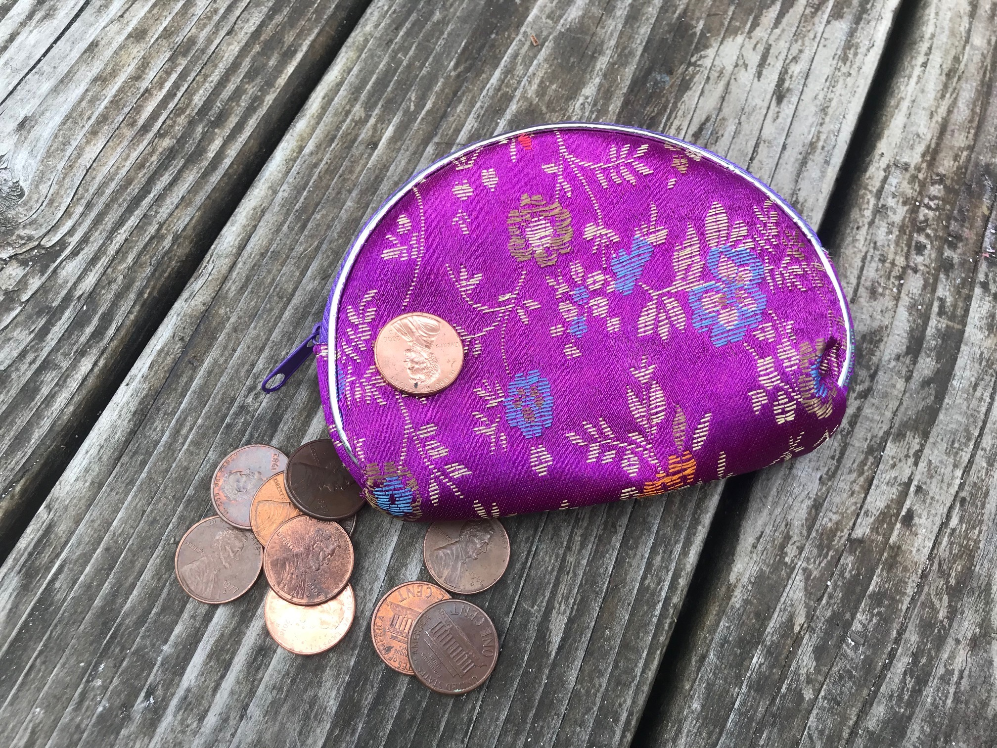 Purple Satin Chinese Nesting Zippered Purse Purchased in San Francisco's China Town - 2018: Lead Free