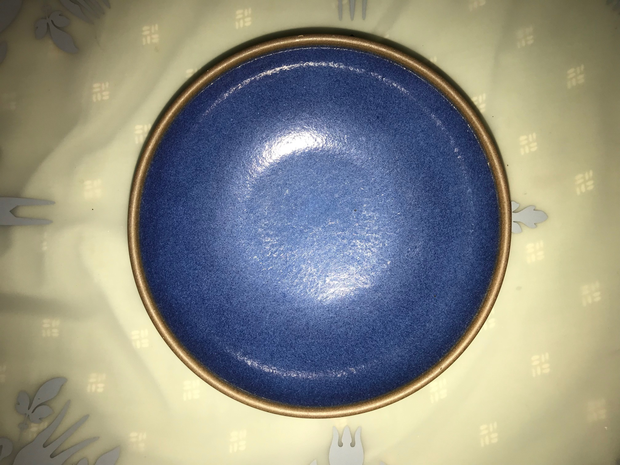 Blue Shallow Heath Potteries Bowl (Sausalito, California): 125,000 ppm Lead [For context 90 ppm Lead is considered unsafe in children's items.]