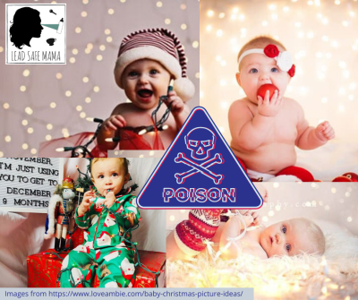 Think twice before wrapping a baby in poison for the holiday pics. Christmas lights can be 15,000 ppm Lead. 90 is unsafe.