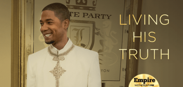 Jussie Smollett on Empire wearing white with Living His Truth on photo