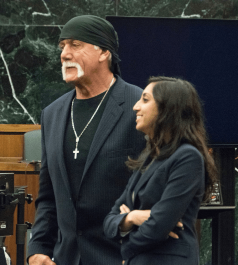 Hulk Hogan and his attorney after case went to the jury. Pool Photo by Boyzell Hosey