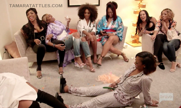 All the RHOA in Tokyo at the pajama party with bachelorette games.