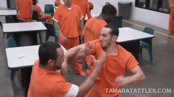 Two male inmates fighting in the pod