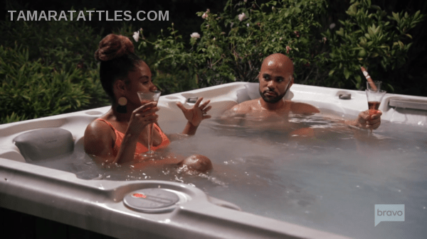 In the hot tub with Asha and Husband