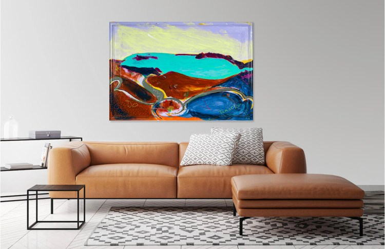 Preview this painting of Santorini's Volcano in Greece as viewed in your home.