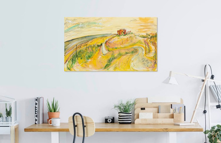 Preview this painting of De Haan's Sand Dunes in Belgium as viewed in your home.