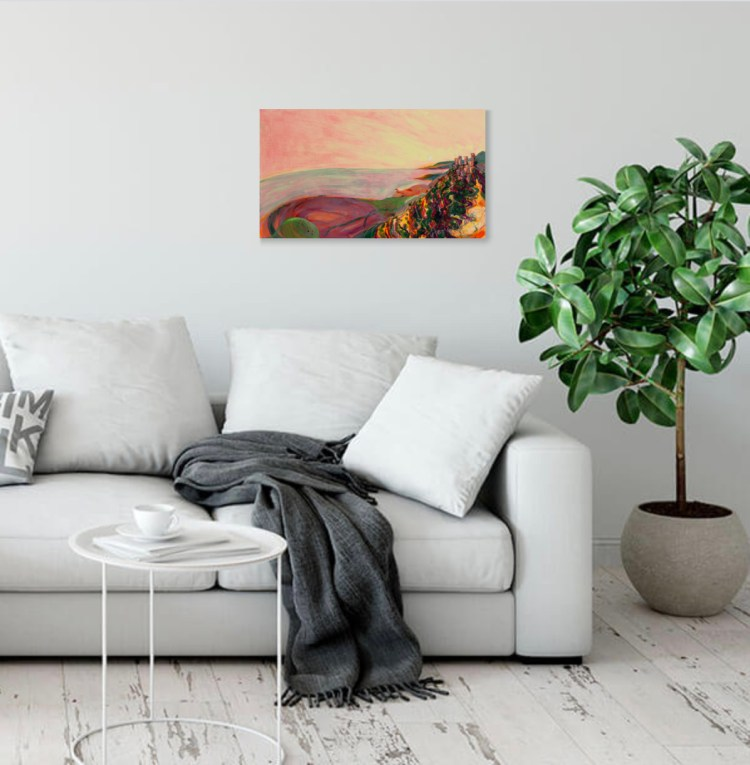 Preview this painting of Vathia in the Pelopennese Greece, in a living room setting
