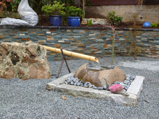 asian style minimalist bamboo fountain