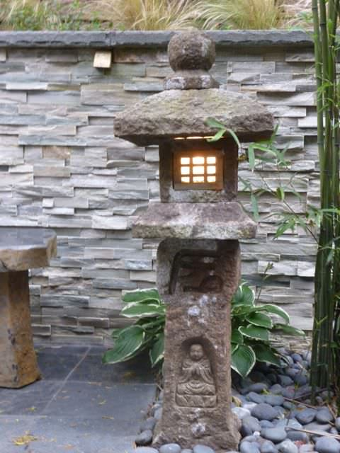 asian style stone lantern lighting