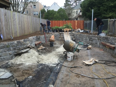 Digging down and building up: San Francisco cobbles used to build the retaining walls