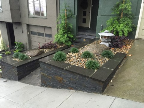 Picture of completed Asain landscaping project in Noe Valley, front