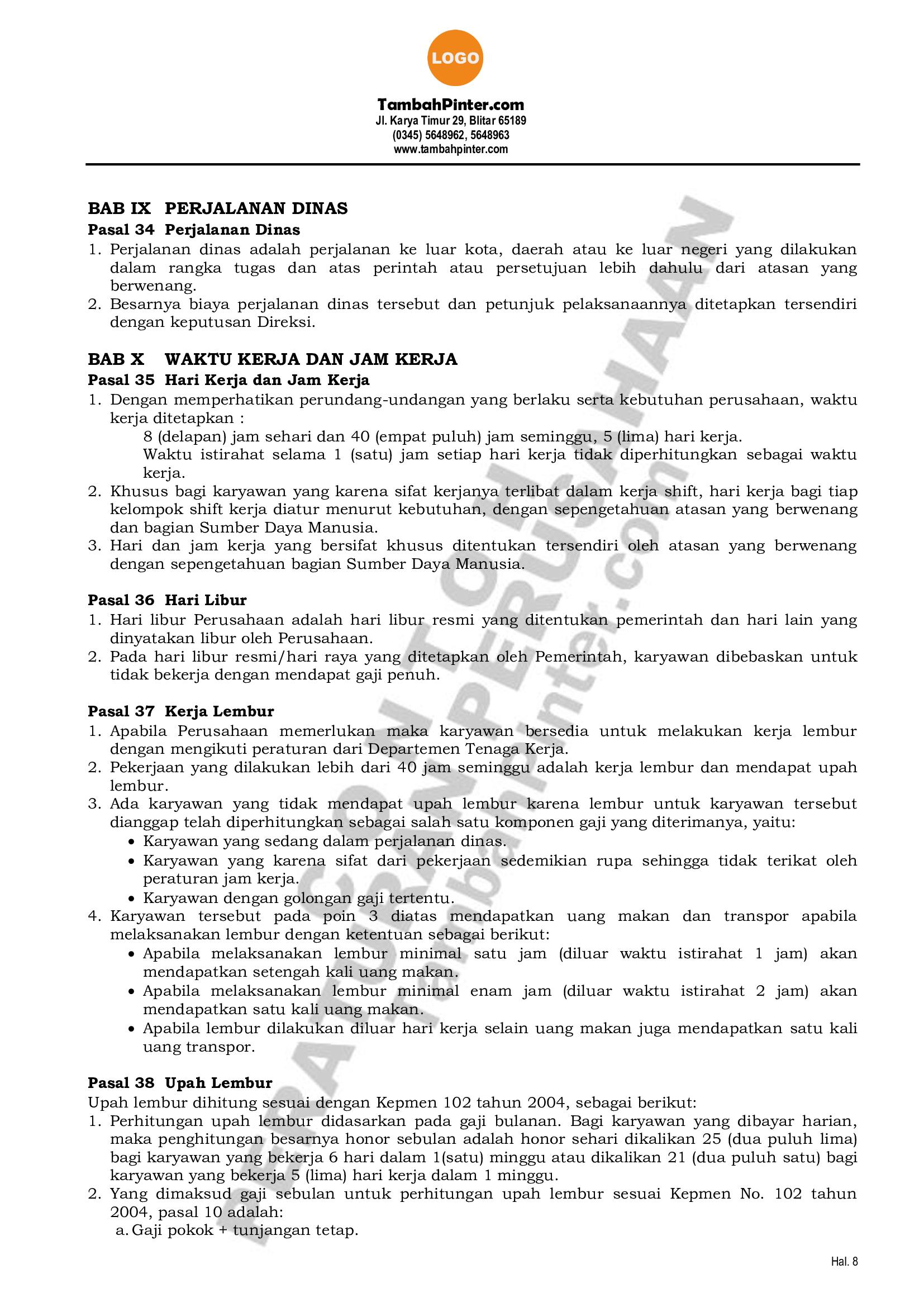 Contoh Peraturan Perusahaan 10