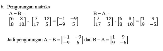 contoh pengurangan matriks