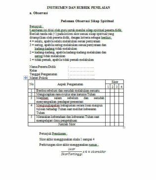 Contoh 2 instrumen observasi