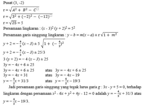 contoh soal dan pemabahasan persamaan lingkaran 1