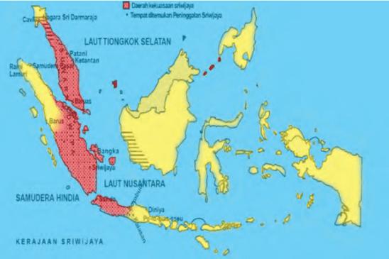 Peta Lokasi Kerajaan Sriwjaya