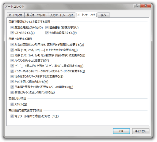 Word2013 オートフォーマットの設定