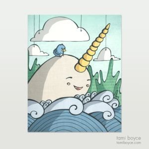 scenic whimsy, narwhal with waves