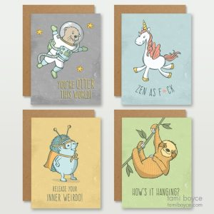 you do you four pack greeting cards