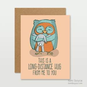 long distance hug owl greeting card