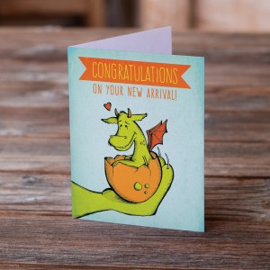 new arrival, congratulations, baby dragon card