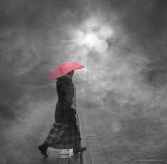 woman in the rain with umbrella