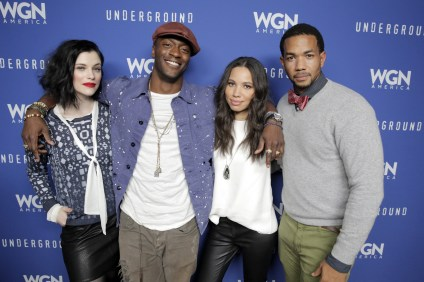 "PARK CITY, UT - JANUARY 23: Actors Jessica De Gouw, Aldis Hodge, Jurnee Smollett-Bell and Alano Miller attend the WGN America celebration of ""Underground"" with John Legend At The VIDA TEQUILA Lounge on January 23, 2016 in Park City, Utah. (Photo by Alison Buck/Getty Images for WGN America)"
