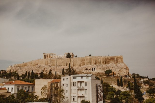 View of the Acropolis from inside the Acropolis Museum in Athens Greece by Tami Keehn