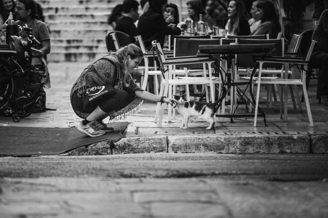 A woman greeting a cat in the streets of Plaka in Athens Greece by Tami Keehn.