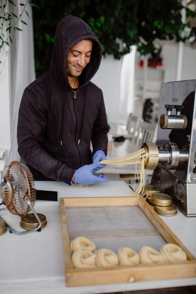 Handmaking pasta in Mykonos Town, Greece by Tami Keehn