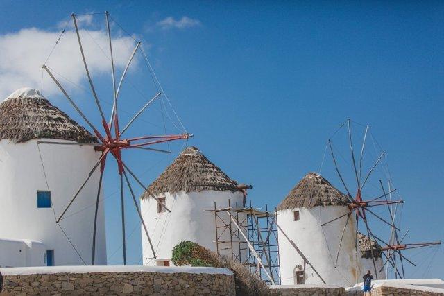 Kato Milos Windmills in Mykonos Town, Greece by Tami Keehn