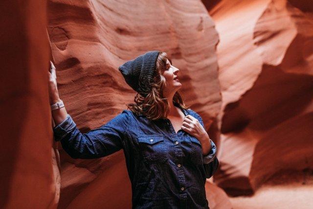 Me inside of Antelope Canyon X in Page Arizona by photographer Jennifer Kielich