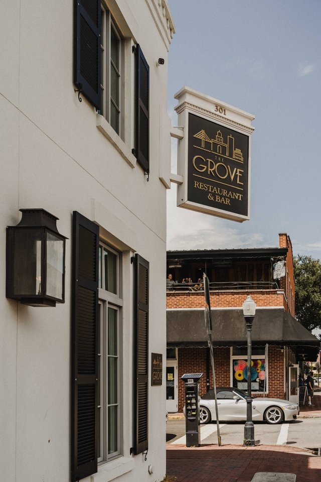 The entrance to The Grove rooftop bar in Savannah, GA.