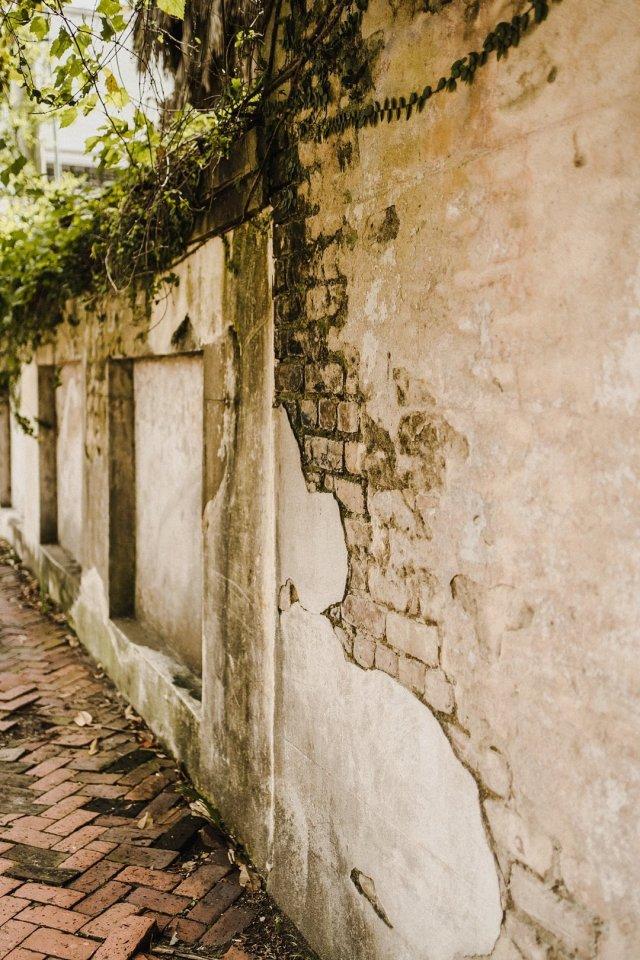 Beautiful exposed brick in Savannah Georgia