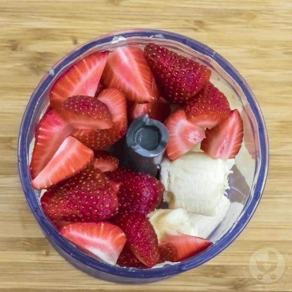 Add the banana and strawberries
