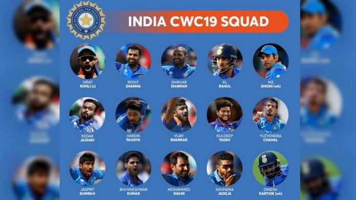 2019 உலக கோப்பை இந்திய அணி