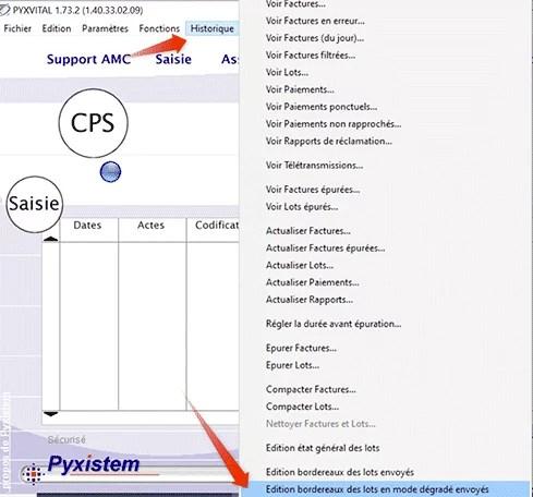 Imprimer bordereau des lots depuis Pyxistem