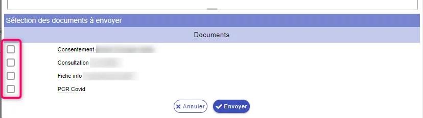 Sélection du document a envoyer