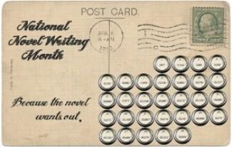 NaNo Vintage Postcard