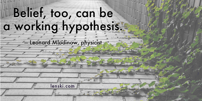 Belief, too, can be a working hypothesis. - Leonard Mlodinow, physicist
